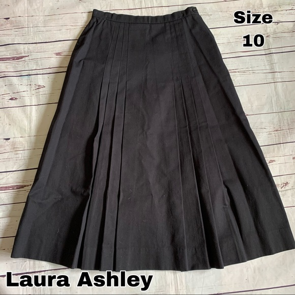Laura Ashley Dresses & Skirts - Laura Ashley black denim pleated skirt size 10
